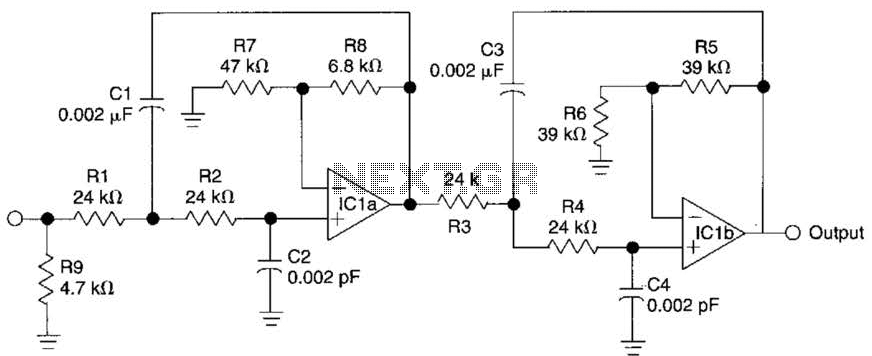 Active Fourth-Order Low-Pass Filter Circuit