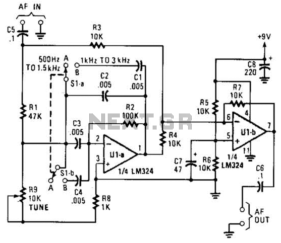 Audio Notch Filter For Shortwave Receivers Circuit