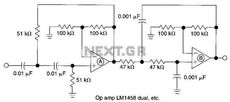 Active Second-Order Bandpass Filter Circuit