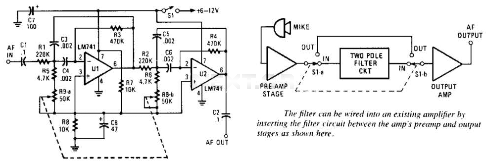 Variable-Frequency Audio Bp Filter Circuit - schematic