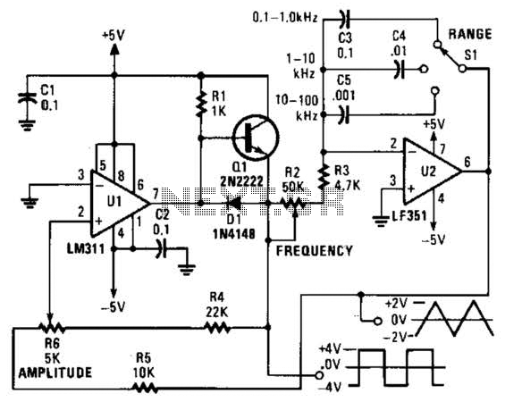 Triangle-Wave Generator Circuit - schematic
