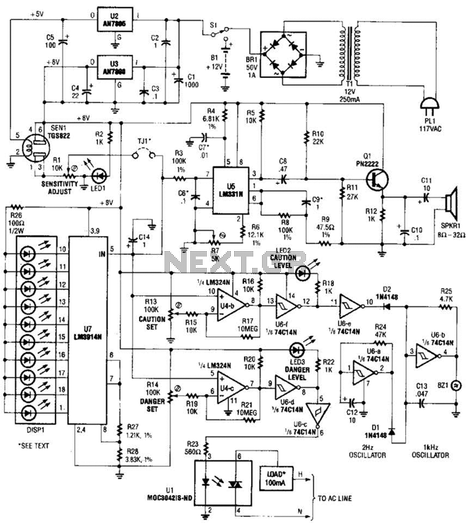 Explosive Gas Detector Circuit