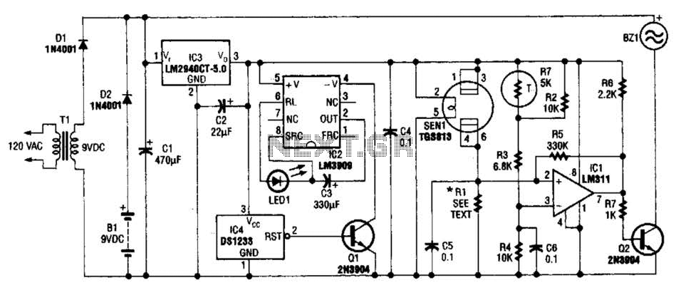 Combustible Gas Detector Circuit - schematic