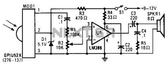 Ir Pulse To Audio Converter Circuit