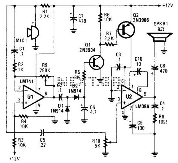 One-Way Voice-Activated Intercom Circuit - schematic