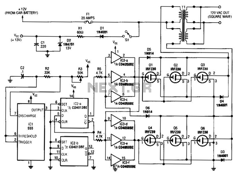 250W Inverter Circuit - schematic