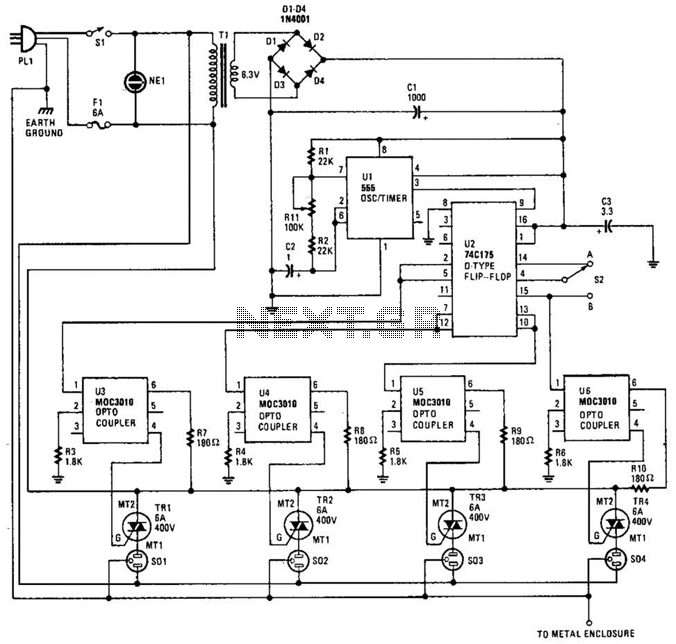 Holiday Light Sequencer Circuit - schematic