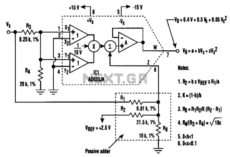 Second-Order Polynomial Generator Circuit - schematic