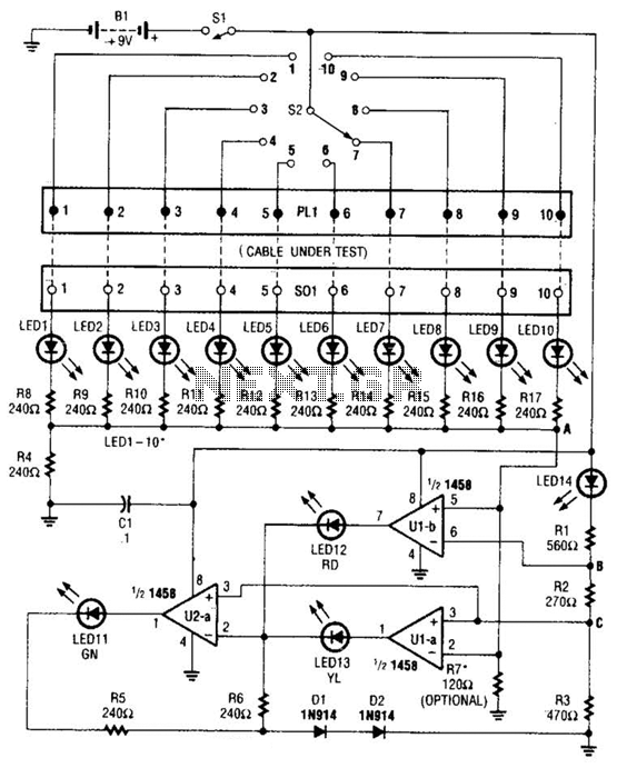 Cable Tester Circuit - schematic