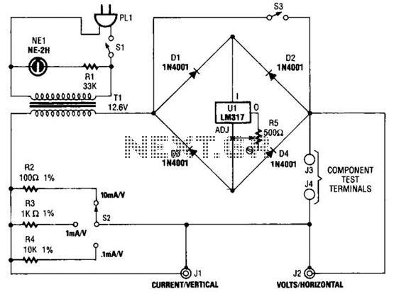 simple curve tracer circuit under meters circuits