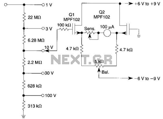 Low-Drift Dc Voltmeter Circuit