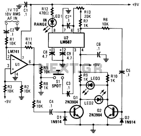Audio-Frequency Meter Circuit - schematic