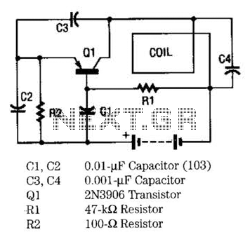 Metal Locator Circuit - schematic