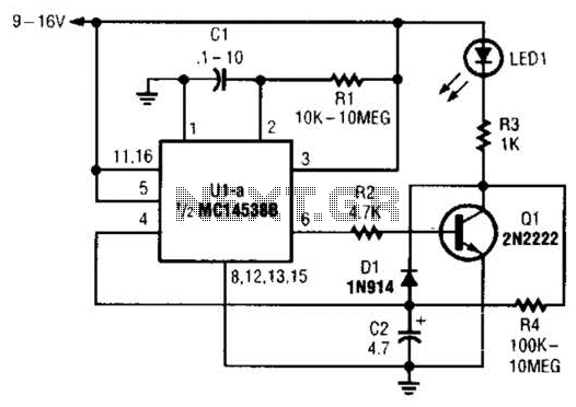 Self Retriggering Timed Generator Circuit - schematic
