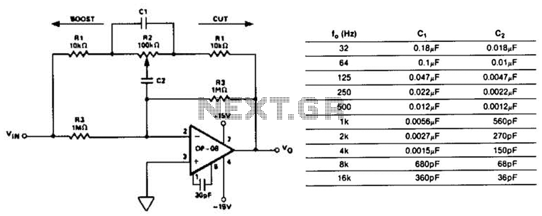 equalizer circuit : audio circuits :: next.gr, Circuit diagram