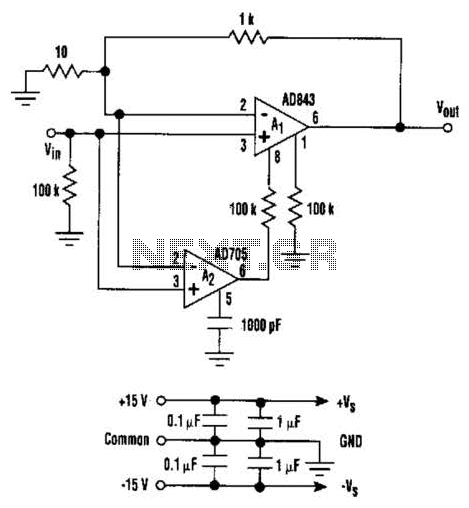 Low Noise And Drift Composite Amp Circuit