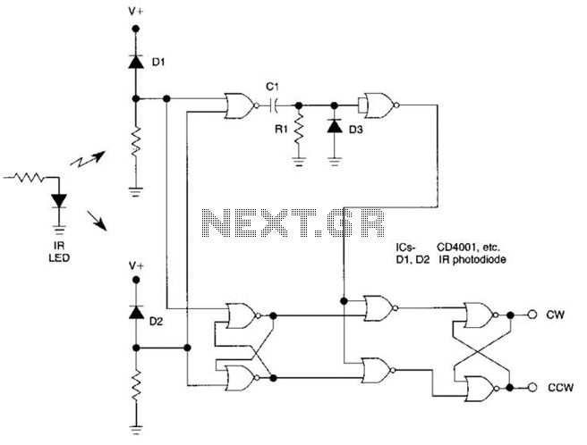 Optical Direction Discriminator Circuit - schematic