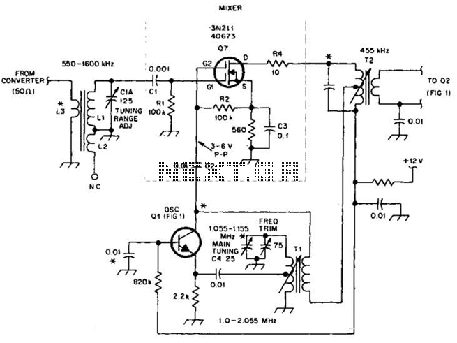 Mosfet Mixer-Oscillator Circuit For Am Receivers Circuit