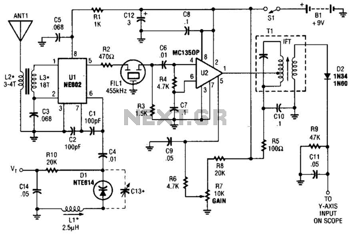 Simple Spectrum Analyzer Adaptor For Scopes Circuit - schematic