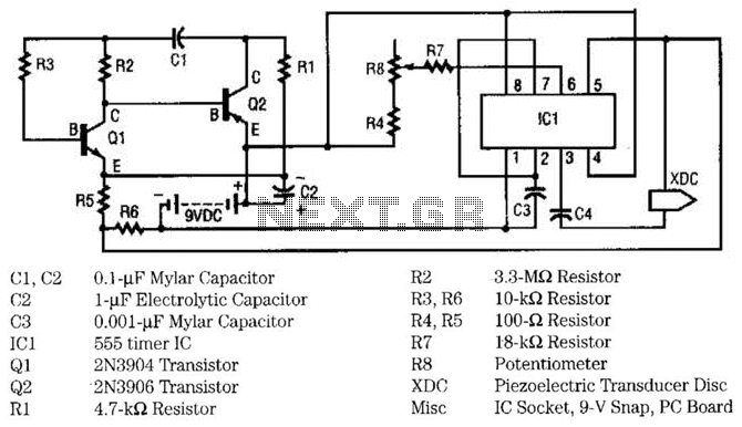 Ultrasonic Pest Repeller Circuit - schematic