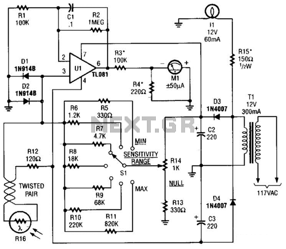 Enlarging Light Meter Circuit - schematic