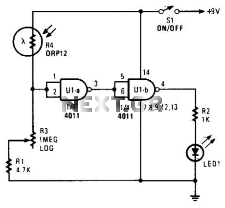 Enlarger Exposure Meter Circuit - schematic