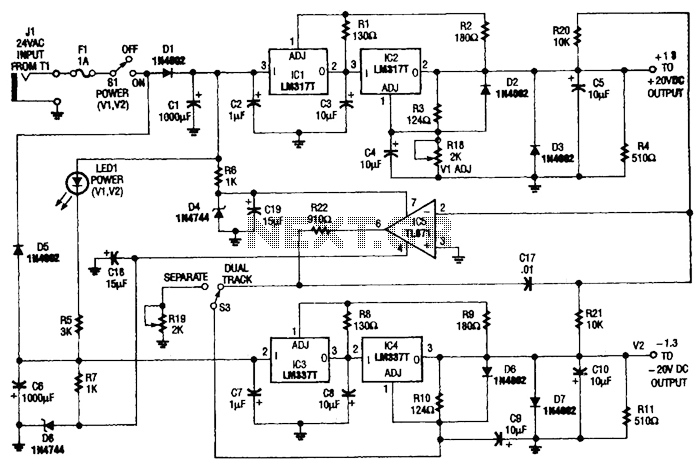 Tracking Double-Output Bipolar Supply Circuit