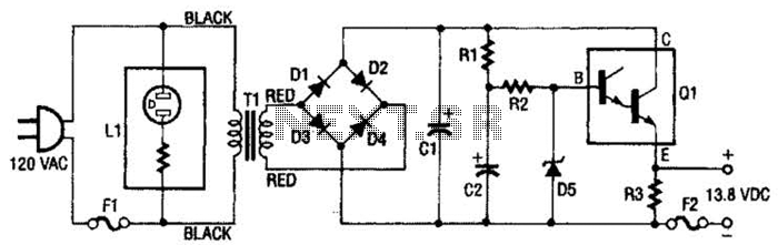 13.8Vdc 2A Regulated Power Supply Circuit - schematic