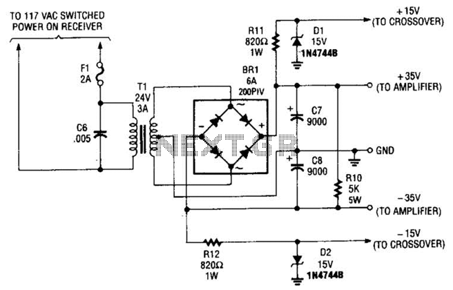 Subwoofer Amplifier Power Supply Circuit - schematic