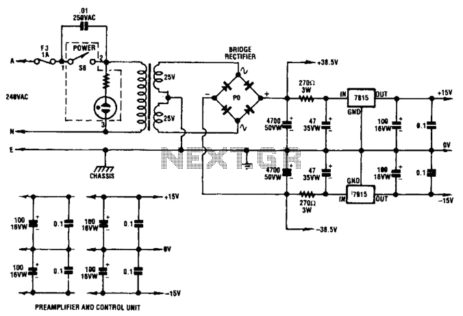 dual audio amplifier power supply circuit under ac