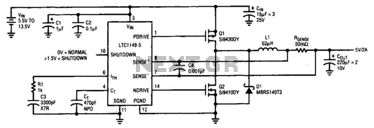 Synchronous Stepdown Switching Regulator Circuit - schematic