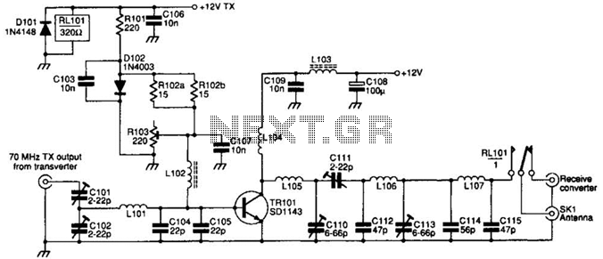 70Mhz Rf Power Amplifier Circuit - schematic