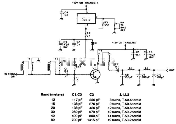 10W 10M Linear Amplifier Circuit - schematic