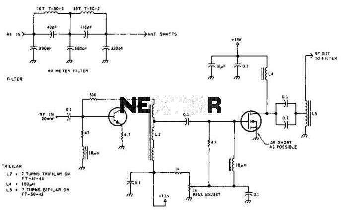 5W 7Mhz Rf Power Amplifier Circuit - schematic