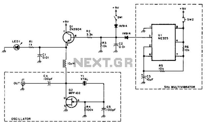 A Shortwave Pulsed-Marker Oscillator Circuit - schematic