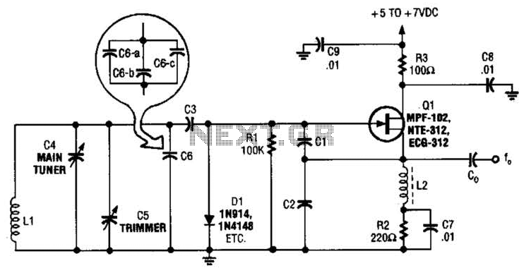 Ham Band Vfo Circuit - schematic