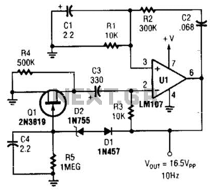 Wien Bridge Sine Wave Oscillator Circuit