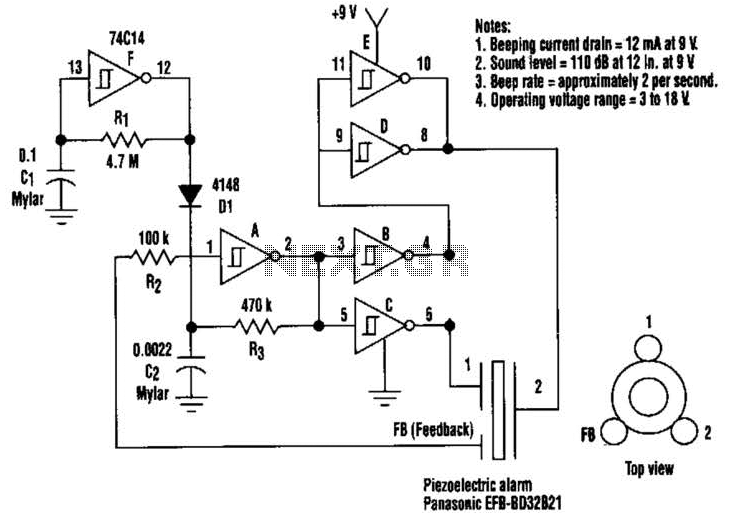 110Db Beeper Circuit - schematic