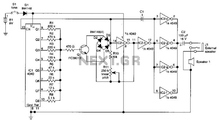 Sound Effects Generator Circuit - schematic