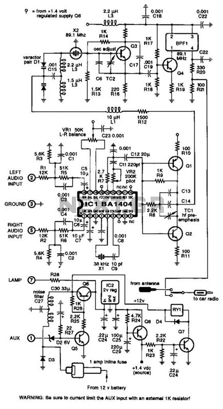 Fm Stereo Transmitter Circuit - schematic