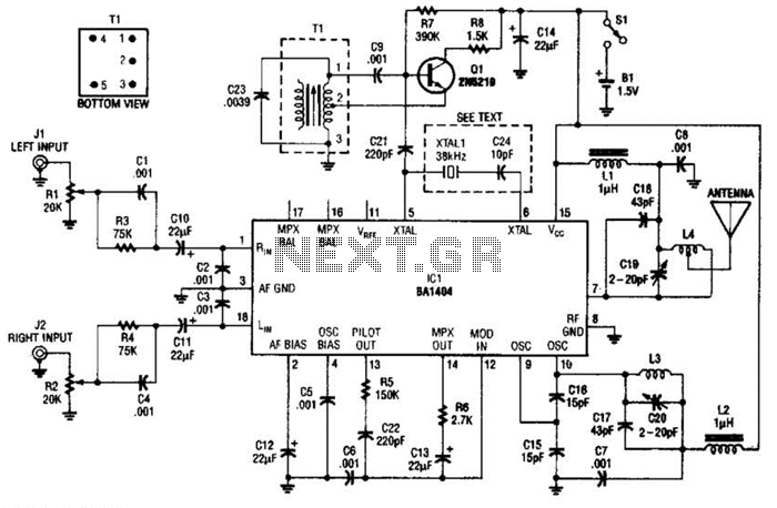 Crystal-Controlled Fm Stereo Transmitter Circuit