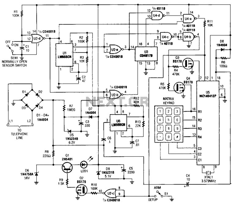 Emergency Telephone Dialer Circuit - schematic
