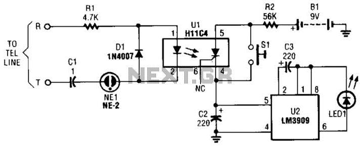 Telephone Voice Mail Alert Circuit - schematic