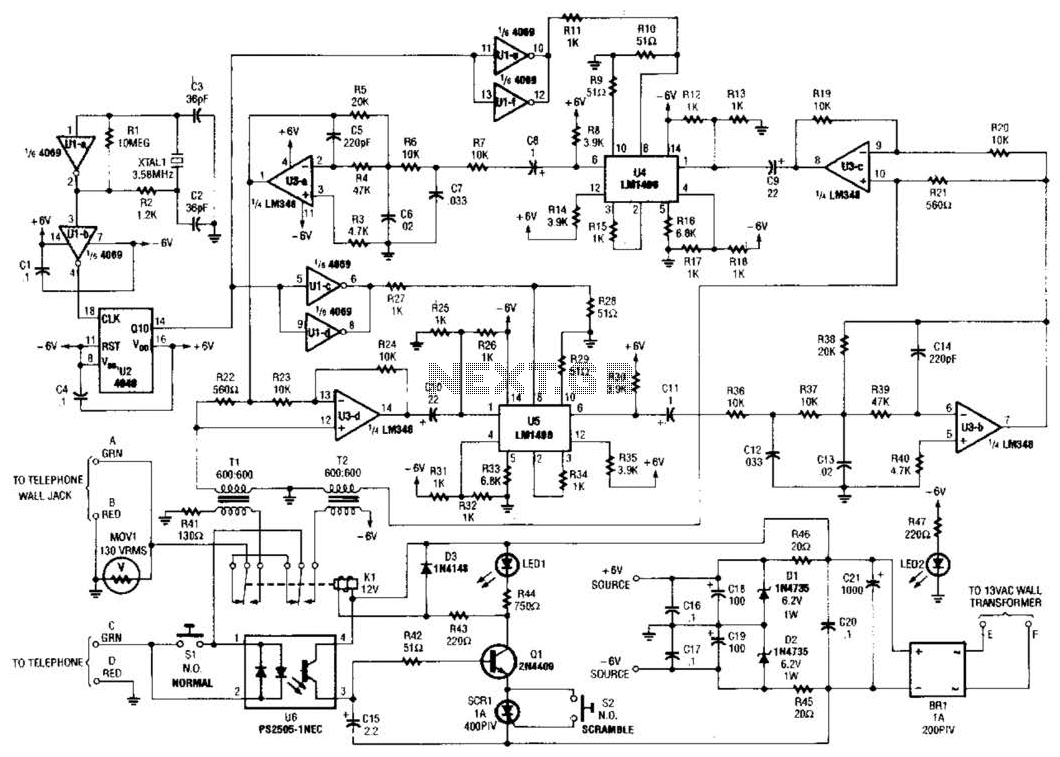 telephone scrambler circuit under phone circuits
