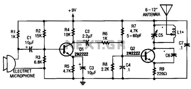 6W Morse-Code Transmitter 7Mhz Circuit