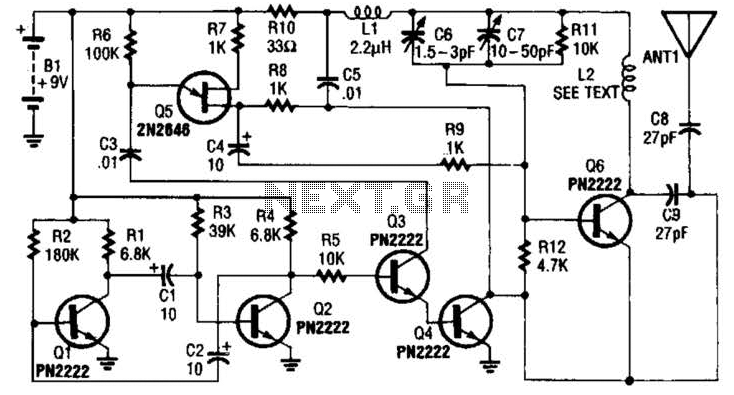 Vacuum Tube 80-40M Transmitter Circuit - schematic