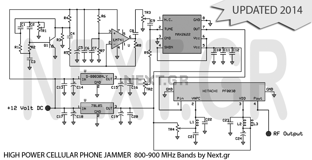 High power mobile phone Jammer circuit - schematic