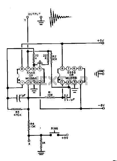 Bell circuit with two 555 timers
