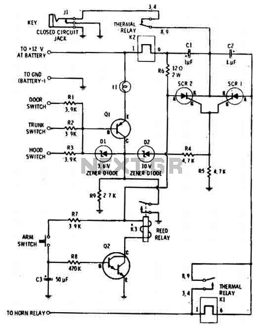 auto-arming car alarm circuit under car bike circuits