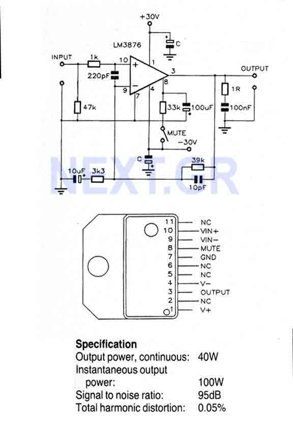 40 Watt Audio power Amplifier LM3876